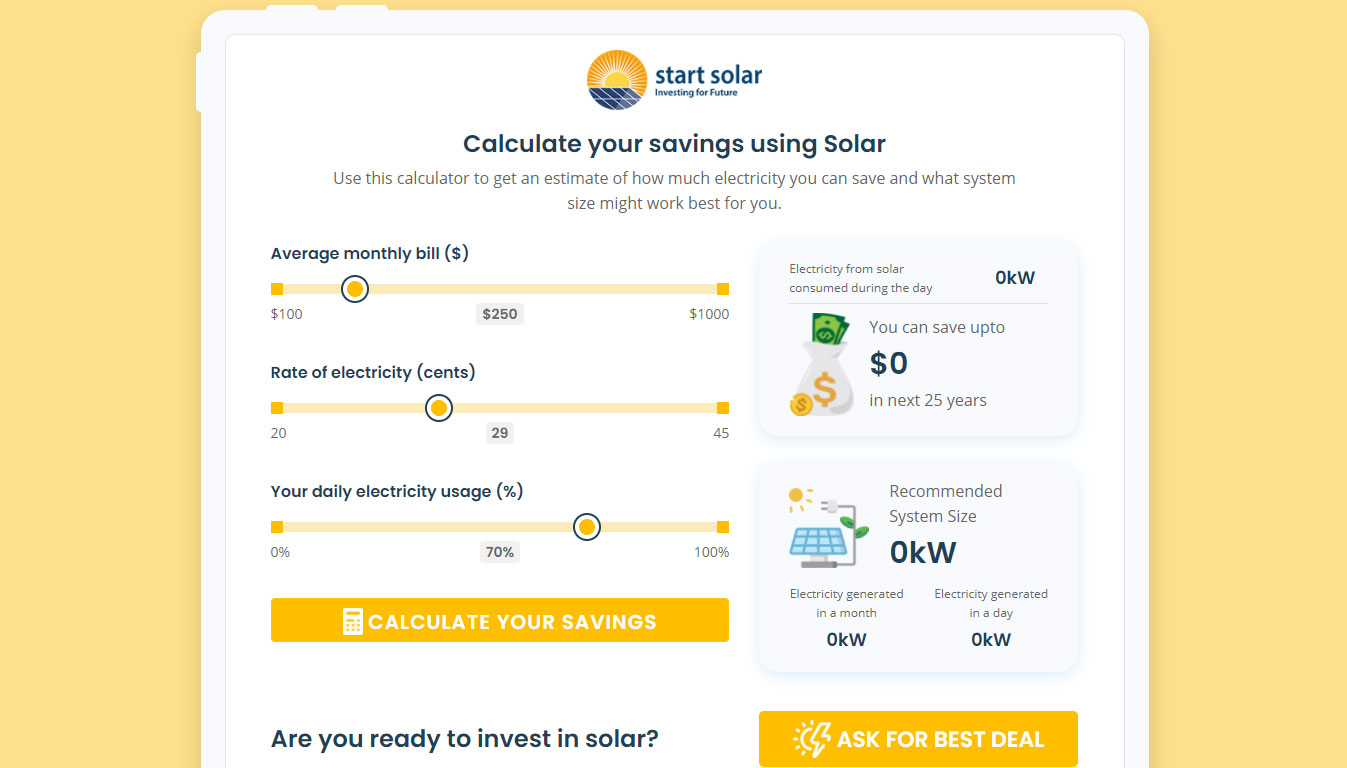 Calculate your savings using Solar